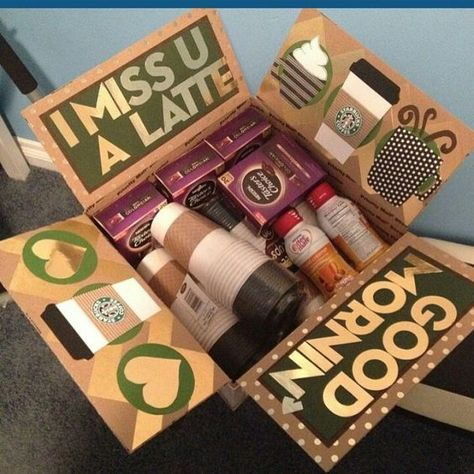 This is seriously the cutest friend care package idea I have seen! My friend is obsessed with starbucks so this is perfect for her for best friends care packages 22 Genius Friend Care Package Ideas Guaranteed To Make Them Smile - By Sophia Lee Craft Gifts, Diy Gifts, Holiday Gifts, Christmas Gifts, Christmas Care Package, Deployment Care Packages, Military Care Packages, College Gifts, College Gift Baskets