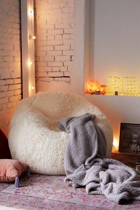Minnie Faux Fur Inflatable Chair Farm House Living Room Bean Bag Chair Bedroom Design