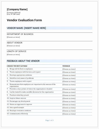 Vendor Evaluation Form New Vendor Evaluation Forms Templates For Ms Word In 2020 Evaluation Form Formal Letter Template Evaluation