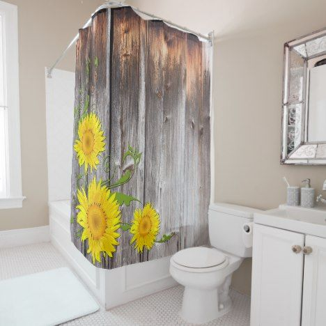 Rustic Sunflowers And Barnwood Shower Curtain Zazzle Com Barn