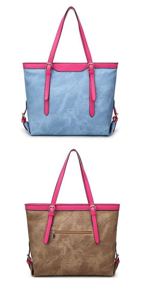 Susie O Handbags Large Capacity Denim Tote Bags Ol Shoulder Vintage Autumn Winter
