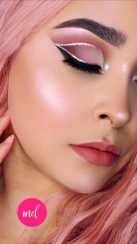 Rose Pink & Glittery Cut-Crease Eye Makeup Look Tutorial