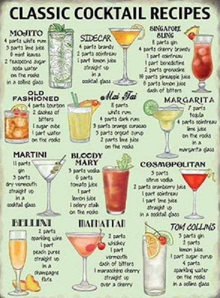 Metal Sign Plaque Fun Classic Cocktail Recipes Drink Kitchen Bar