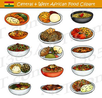 Central And Western African Food Clipart Delicious Central And West African Meals And Dishes Clipart In Both Color And Black An African Food Food Clipart Food