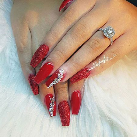 Coffin Red Prom Nail Designs Prom Nail Designs Prom Nails Silver Prom Nails Red