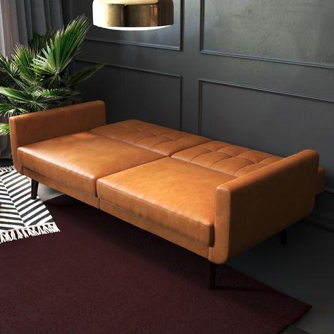 Sofa Bed Fold Out, Comfortable Futon, Leather Futon, Modern Futon, Sleep On The Floor, Unique Sofas, Mid Century Modern Design, Better Homes, Diy Bedroom Decor