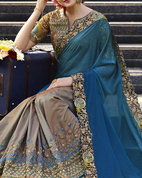 Be A Gorgeous Lady As You Deck Up This Wedding Special Saree From The Online Store Of Simaaya Fashions. Fashioned From Rich Crepe Silk And Chiffon Fabric, It Promises To Keep You Comfortable .  Exclusive at - http://www.simaayafashions.com/wedding-special-crepe-silk-and-chiffon-saree-in-blue-and-gray-prfa7231  #designerwear #simaayafashions #exclusivecollection #partywear