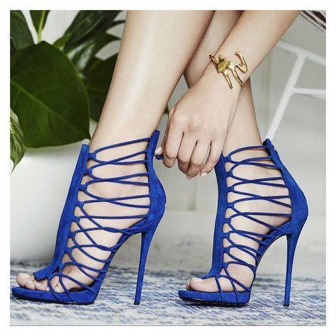 818ff244a64 Royal Blue Stiletto Heels Gladiator Sandals Zipper Strappy Sandals ...