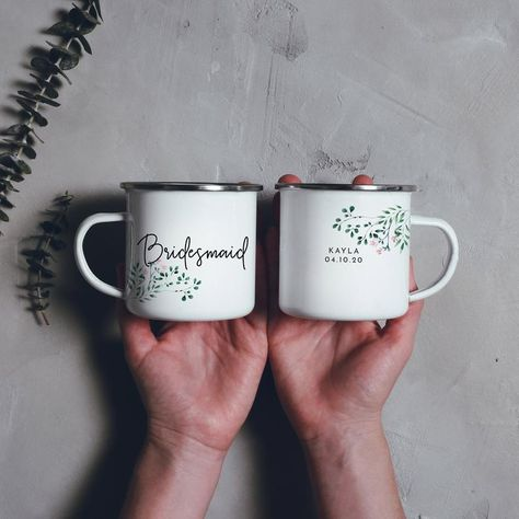 Bridesmaid Mugs Camping Mugs Bridesmaid Gift Camp Mugs Mountain Wedding // Double Sided  Features: ~ Double Sided Design ~ Title printed on the front with personalised name and date on the back ~ Size: 10 oz. ~ Material: Metal, Stainless Steel, Sublimation Coated White Gloss ~ Care: Hand wash only ~