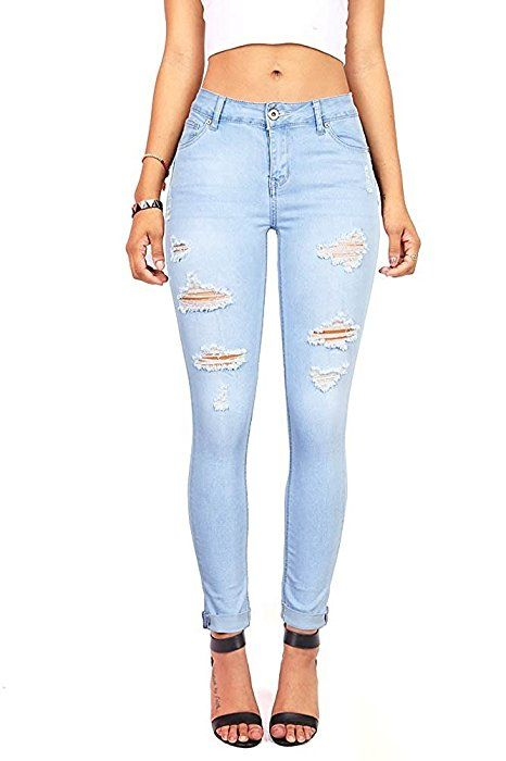 b09fc7d4545430 Pink Ice Women's Juniors Distressed Slim Fit Stretchy Skinny Jeans Blue 0  at Amazon Women's Jeans store