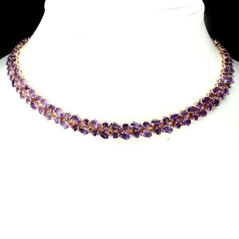 Precious-Oval-6x4mm-Top-Rich-Purple-Amethyst-925-Sterling-Silver-Necklace-21inch