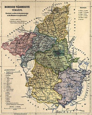 Borsod Varmegye Kozigazgatasi Terkepe 1910 Bol Magyarorszag