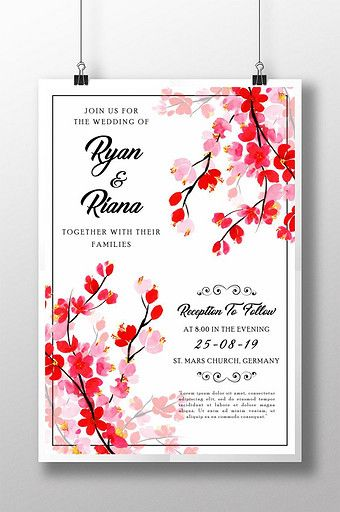 Red Watercolor Floral Wedding Invitation Poster Pikbest Templates Floral Wedding Invitations Wedding Invitation Posters Watercolor Floral Wedding Invitations