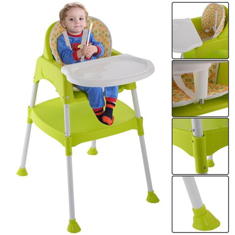 3 In 1 Baby High Chair Convertible Table Seat Booster Toddler Feeding Highchair Furniture