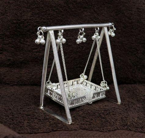 Sterling silver handmade Bal Gopala jhula, little Krishna swing, child krishan palana, silver jhula,