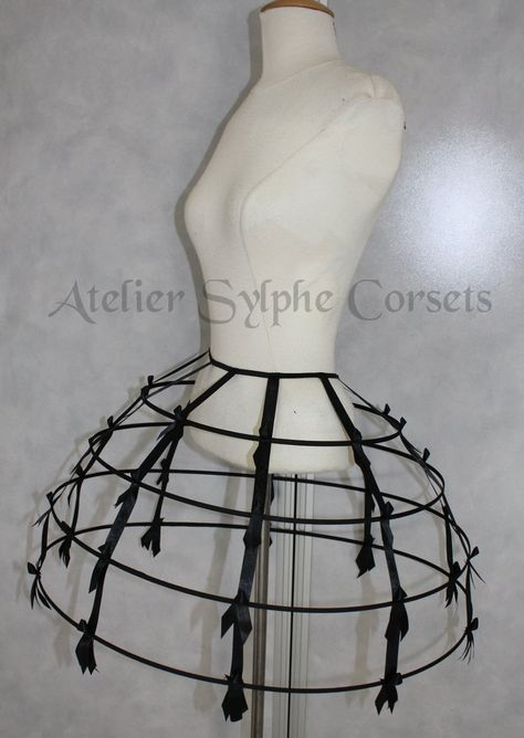 Black color Crinoline hoop cage skirt pannier 4 rows elastic waist band and satin ribbon fantasy cage Dress Ball Gown