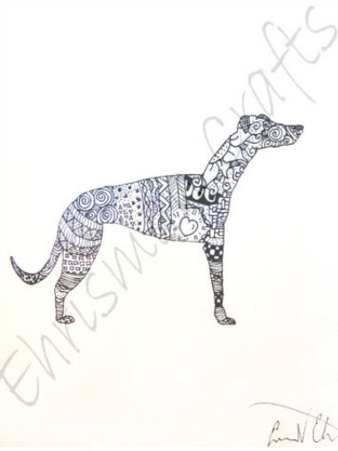 Greyhound Zentangle Coloring Page Coloring Pages How To Draw