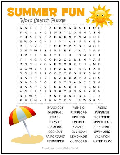 14+ Printable summer word search for kids inspirations