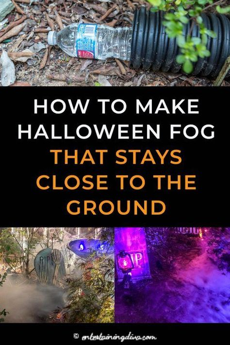 Learn how to make low lying fog with an inexpensive fog machine and a few cheap construction supplies. This is one of the easiest fog machine ideas for making your Halloween yard haunt or party look spooky. Soirée Halloween, Halloween Cupcakes, Halloween Yard Ideas, Halloween Costumes, Halloween College, Halloween Supplies, Halloween Couples, Diy Halloween Archway, Halloween Makeup