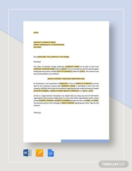 Direction Card Templates Microsoft Word Inspirational Letter Of Direction Payment Of Acquisition Price Template In 2020 Lettering Memo Template Quotations