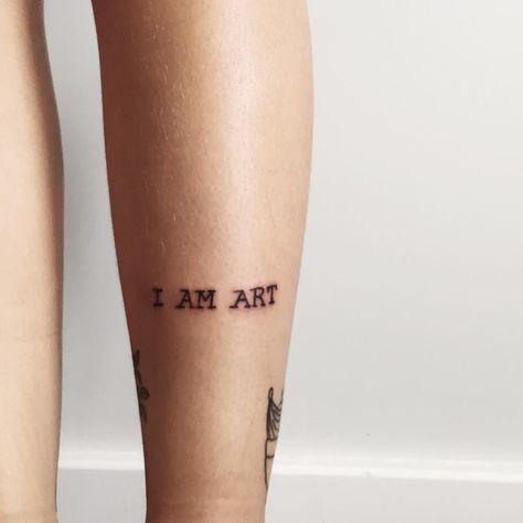 "Olivia Kenny on Instagram: ""Art, I Am"" -  'I AM ART' Tattoo // Leg Olivia Kenny on Instagram  - #art #instagram #kenny #mountaintattoo #olivia #tattoogirlcute #tattooleg #wavetattoo"