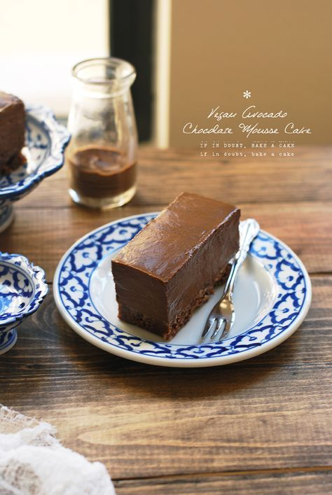 Vegan Avocado Chocolate Mousse Cake Raw Walnuts Coconut