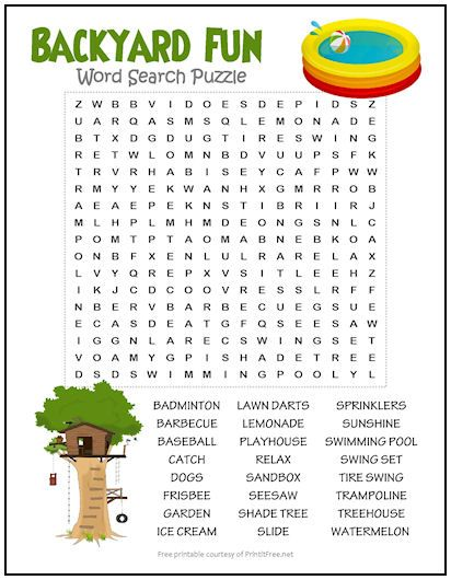 Backyard Fun Word Search Puzzle Word Puzzles For Kids Learning Websites For Kids English Worksheets For Kids