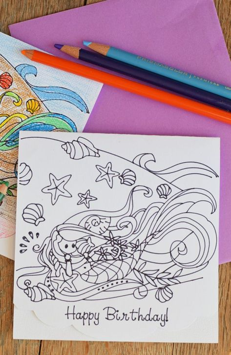 DIY Colorable Mermaid Birthday Card for adults or kids made with the ...