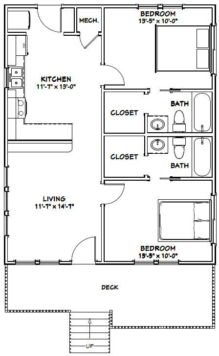 26x32 House 26x32h1a 832 Sq Ft Excellent Floor Plans Tiny House Floor Plans Small House Floor Plans Cabin Floor Plans