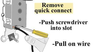 Release Wire From Quick Connect Wire Switch Basic Electrical Wiring Home Electrical Wiring