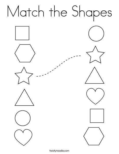 Match The Shapes Coloring Page Twisty Noodle Shape Worksheets For Preschool Free Preschool Worksheets Tracing Worksheets Preschool