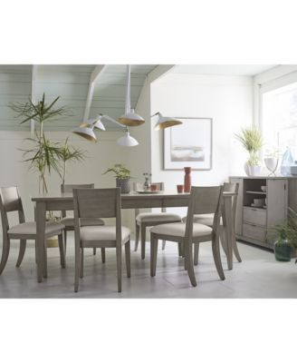 Tribeca Grey Expandable Dining Furniture 9 Pc Set Dining Table