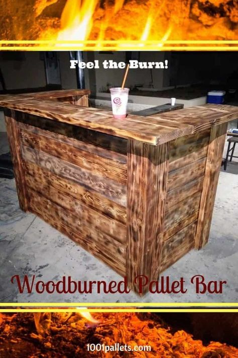Torched Pallet Bar Won't Burn Your Budget! • 1001 Pallets,  #Bar #Budget #Burn #Pallet #palle...,  #Bar #Budget #Burn #palle #Pallet #pallets #repurposedshippingcrates #Torched #Wont