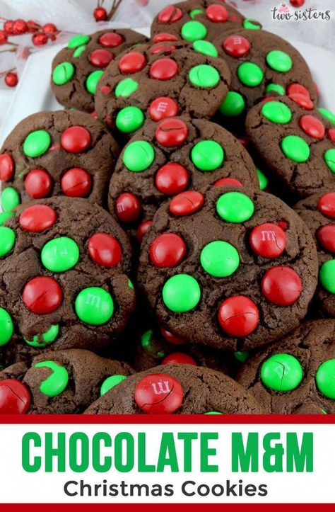 Are you planning a Christmas Party for your friends and family? Do you need an idea for the Christmas Party desserts? We suggest a batch of these yummy and easy to make Chocolate M&M Christmas Cookies.  Your guests will thank you! #ChristmasPartyFood #ChristmasPartyRecipe #ChristmasPartyForKids #ChristmasParty #chocolatemmcookies