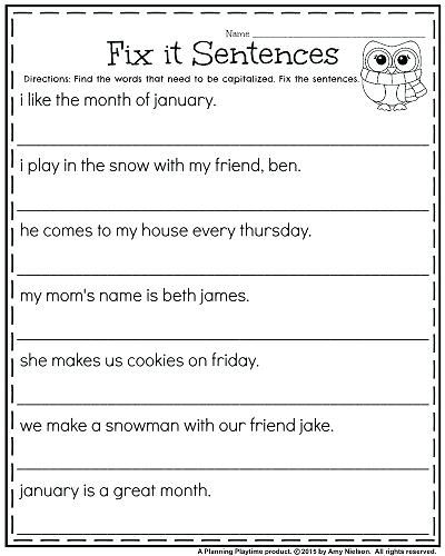Correct The Sentence Worksheet First Grade Worksheets Fix It Sentences For  Capitalizati… First Grade Writing, 1st Grade Writing Worksheets, First  Grade Worksheets