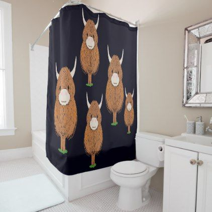 Highland Cow Shower Curtain Zazzle Com With Images Highland