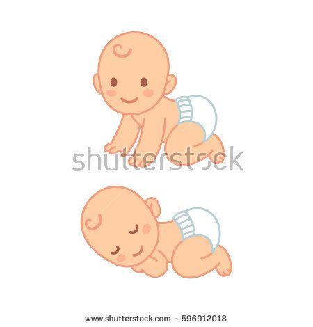 Cute Cartoon Baby In Diaper Sleeping And Crawling Newborn Child Illustration Set Baby Cartoon Drawing Baby Cartoon Baby Drawing