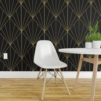 Cortez Removable 10 L X 25 W Peel And Stick Wallpaper Roll Art Deco Removable Wallpaper Black Wallpaper