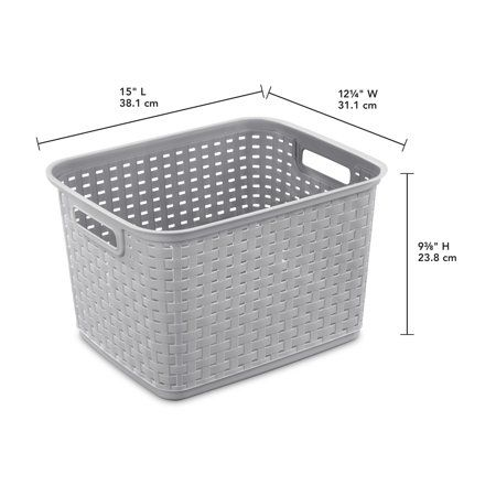 Sterilite Tall Weave Storage Basket 15 X12 25 9 375 Cement Walmart Com Woven Baskets Storage Storage Baskets Tall Storage Baskets