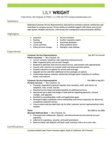 2018 Customer Service Customer Service Resume Customer Service