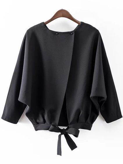 Black Batwing Sleeve Bow Split Blouse
