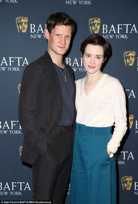 Aglow: Claire Foy and Matt Smith posed together at Sunday's BAFTA screening of The Crown in New York, ahead of its second season dropping on Netflix next Friday