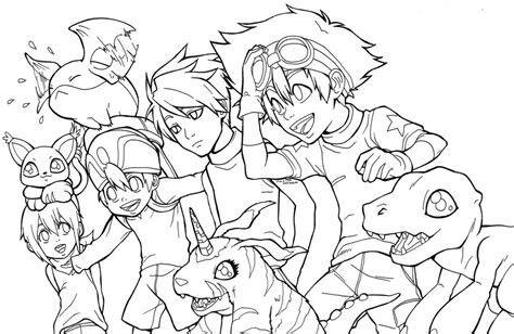 Digimon Coloring Page Of Agumon Gabumon Patamon Gatomon