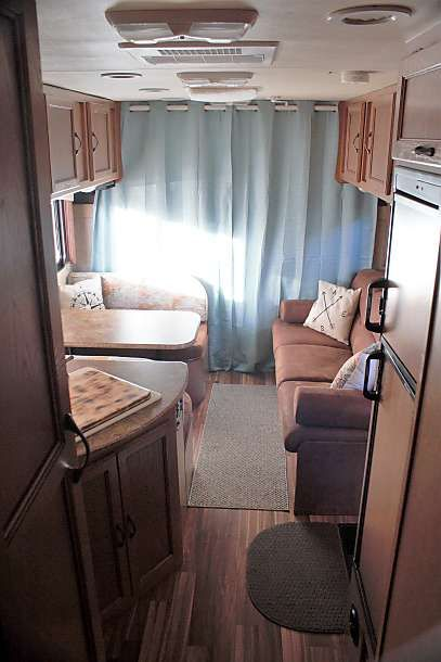 Added Light Curtains To The Over Cab Bunk For Privacy Brightens