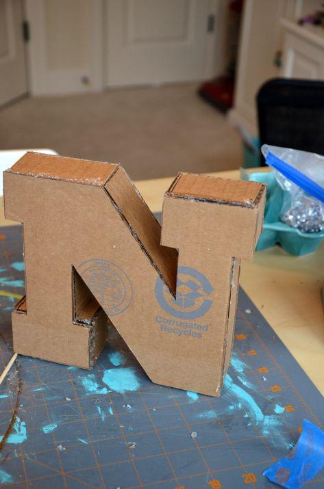 DIY Large Cardboard Letters: Part 1 - - DIY Large Cardboard Letters: Part 1 – The Creative Physician Large Cardboard Letters, Paper Mache Letters, Cardboard Box Crafts, Cardboard Playhouse, Diy Letters, Cardboard Furniture, Letter A Crafts, Cardboard Crafts, Large Letters