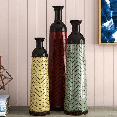Brayden Studio Waltham 3 Piece Floor Vase Set Floor Vase Vase