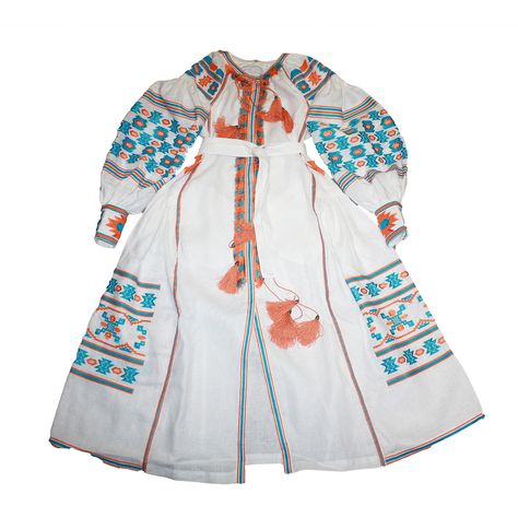 embrodiery White Embroidered Dress Linen...