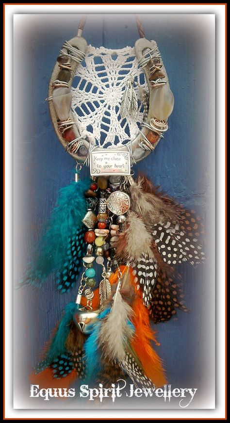 Gemstone dreamcatcher horseshoe by EquusSpiritJewellery on Etsy, £30.00