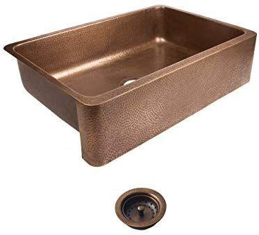 Sinkology Sek307 33 Amz B Lange Farmhouse Copper 32 In Single Bowl Strainer Kitchen Sink With Drain Antique Copper Kitchen Sink Copper Kitchen Kitchen Sink