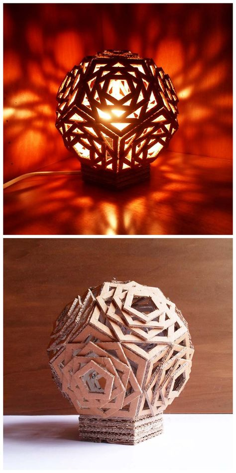 DIY cardboard lamp- 15 DIY Cardboard Crafts In Your Home- Medium materials Cardboard Furniture, Cardboard Crafts, Paper Crafts, Cardboard Design, Cardboard Boxes, Cardboard Playhouse, Popsicle Stick Crafts, Craft Stick Crafts, Popsicle Sticks